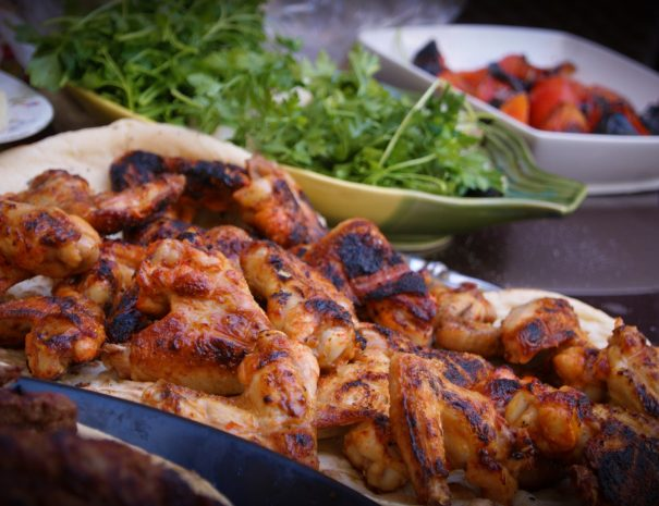 barbecue and salad